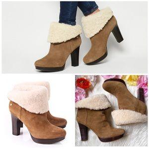 EUC UGG Dandylion Fur Trimmed Ankle Heel Boots 7.5